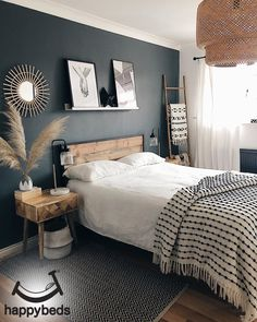 Room Ideas Bedroom, Dream Bedroom, Home Decor Bedroom, Bedroom Wall, Master Bedroom, Interior Inspiration, Urban Rustic, Interior Design, Rustic Bed