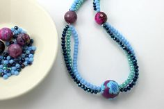 Handmade necklace beaded multistrand ethnic style, boho necklace with glass crystal, agathe and polymer clay bead with murrini.  Made in Italy from Talè Jewels