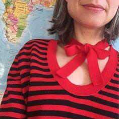 #Kragensituation vor Weltkarte #ootd #Streifen #Schleife #stripes #bow #SoniaBySoniaRykiel