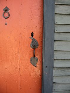 Pumpkin orange door / diamond detail / autumn inspired orange and gray / Orange Front Doors, Front Door Colors, Exterior Colors, Exterior Paint, Exterior Siding, Paint Schemes, Color Schemes, Orange Grey, Burnt Orange