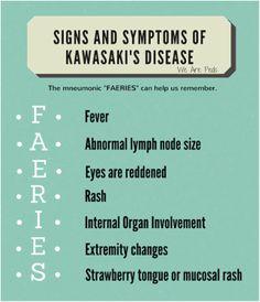 Kawasaki Disease - We Are Peds Nursing School Tips, Nursing Tips, Nursing Care, Nursing Notes, Ob Nursing, Postpartum Nursing, Nursing Degree, Nursing Mnemonics, Nursing Assessment