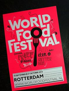 I like the use of type. This poster is very fun which is displayed by the typeface and also with the bright colors as well. Food Branding, Event Branding, Food Graphic Design, Graphic Design Illustration, Typographic Poster, Typography, Brochure Design, Branding Design, Food Truck Festival