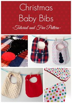 Christmas Baby Bibs to sew includes bib pattern and 2 appliques.