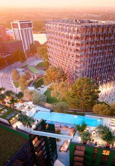 Sky Pool - piscina a 35m conecta torres em Londres - Embassy Gardens;