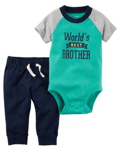 Baby Boy Carter's World's Best Brother Bodysuit & Pants Set, Size: 24 Months, Green Little Boy Outfits, Little Boy Fashion, Kids Fashion Boy, Toddler Outfits, Baby Boy Outfits, Kids Outfits, Newborn Boy Clothes, Cute Baby Clothes, Baby Boy Camo