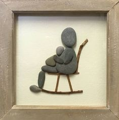 New baby Pebble Art framed Picture rustic home decor