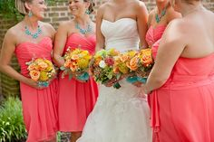 Coral and Turquoise Water Table Wedding by Amanda Manupella Photography / Tidewater and Tulle | A Virginia Wedding Blog