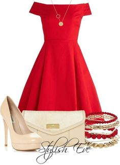 Red dress with nude heels :)