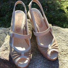 """Neutral Timberland wedges These are fabulous neutral colored Timberland wedges, they're just too big for me. Comfy 4"""" wedge. RePosh.  Originally sold as new w/o tags and that's reflected in the pictures and the price. Timberland Shoes Sandals"""