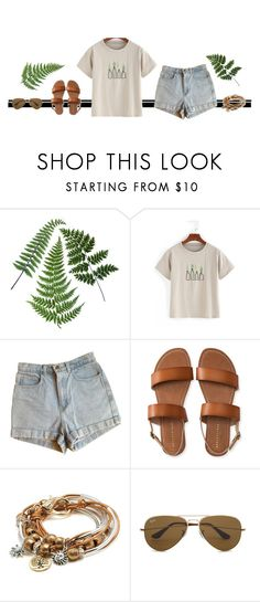 """Fern"" by blueeyed-dreamer ❤ liked on Polyvore featuring American Apparel, Aéropostale, Lizzy James, Ray-Ban, casual, denim, sandals and shein"