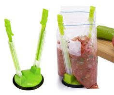 For make-ahead freezer meals, use the Jokari Hands-Free Baggy Rack Clip Food Storage Bag Holder - these are freezer meal baggy stands that hold up the bags so that you can pour ingredients into the bags without making a mess. Food Storage, Freezer Storage, Kitchen Storage, Bag Storage, Storage Containers, Plastic Storage, Crock Pot Freezer, Freezer Cooking, Freezer Meals