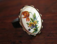 Vintage Findings Nostalgic Tulip Bouquet Cameo Ring by WhimsyHouse, $10.00