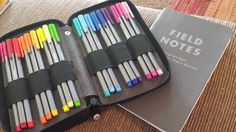 Staedtler Triplus Fineliners, Field Notes notebook, and Global Art Pencil Case.