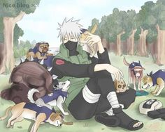 Kakashi and his dogs Kakashi Hatake, Naruto Shippudden, Naruto Cute, Itachi, Anime Dad, Anime Guys, Ninja, Naruto Series, Team 7
