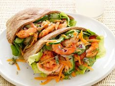 Shrimp Salad Pitas: Build a sandwich filled with shrimp and colorful veggies for lunch or a light dinner. Combine broiled shrimp, yogurt and dill to make a cool shrimp salad that fits perfectly inside toasted pita.
