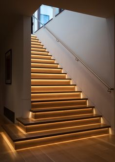 New Home Build - Contemporary - Staircase - San Francisco - by Cerami Builders Inc Stair Wall Lights, Stair Walls, Wood Stairs, House Stairs, Staircase Interior Design, Home Stairs Design, Stone House Plans, Staircase Lighting Ideas, Modern Stairs