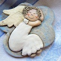 Anjel na obláčiku / Zboží prodejce ina. Clay Christmas Decorations, Christmas Clay, Christmas Angels, Christmas Crafts, Ceramic Pots, Ceramic Clay, Ceramic Pottery, Clay Angel, Pottery Angels