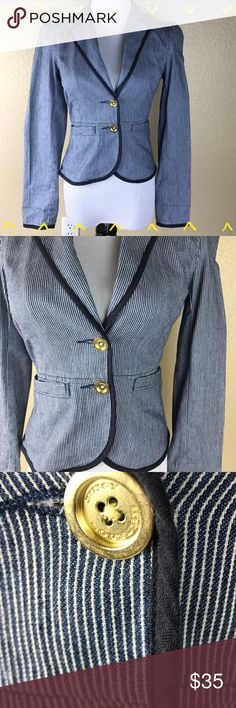 Juicy Couture blue pinstriped blazer size XS Juicy Couture blue (almost jean color) pinstriped blazer size XS. So cute with the most amazing back peplum detail. Adorable gold buttons and functional front pockets. Offers welcome, no trades., Juicy Couture Jackets & Coats Blazers