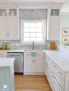 Coastal Backsplash and Kitchen Makeover - Lunada Bay Tile