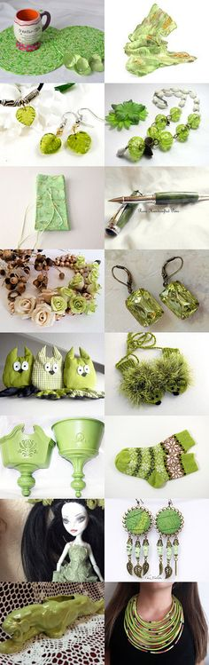 Gorgeous Finds! by ROSE on Etsy-- Lovely Etsy Treasury with unique gift ideas... Lovely green trivets... Pinned+with+TreasuryPin.com