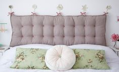 Padded headboard tutorial from Torie Jayne Pillow Headboard, Bed Pillows, Home Bedroom, Diy Bedroom Decor, Home Decor, Herringbone Headboard, Headboard With Shelves, Home Sew, Headboard Designs