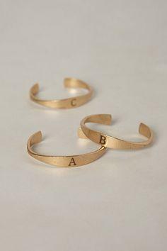 Skinny Monogram Bangle at Anthropologie. Jewelry Box, Jewelery, Jewelry Accessories, Fashion Accessories, Diamond Are A Girls Best Friend, Bangles, Gold Bracelets, Bangle Bracelet, Love Fashion