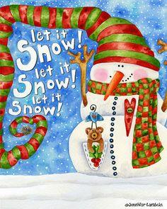 Art Print 8x10. Let It Snow Nelson by Jennifer Lambein on Etsy #snowman #whimsical