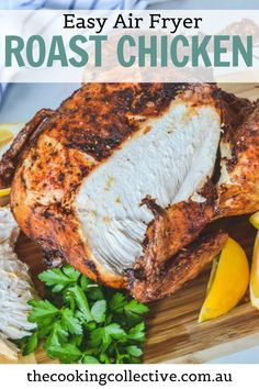 You're going to love how easy this family-sized air fryer roast chicken is! A whole chicken is covered in a dry spice rub and then air fried to crispy, golden perfection with a hint of lemon and herbs. The meat is juicy and tender with perfect, extra crispy skin – every time! All you need is a few simple ingredients for this healthy, easy weeknight roast that the whole family will enjoy. Easy Dinner Recipes, New Recipes, Easy Meals, Healthy Recipes, Healthy Weeknight Meals, Air Fryer Healthy, Spice Rub, Roasted Meat, Roast Chicken