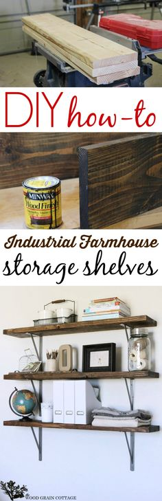 Diy Wood Shelf How To Tutorial: farmhouse style rustic industrial storage. The Wood Grain Cottage for www.foxhollowcottage.com