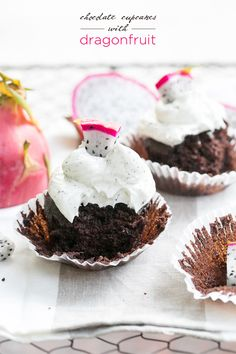 Chocolate Cupcakes with Dragon Fruit Buttercream
