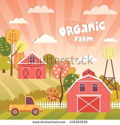 Vector applique illustration of farm landscape with farmhouses, fields and gardens - stock vector