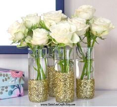 """Set of 10 """"Glitter Vases, Wedding Vase, Glitter Centerpiece, Baby Shower Vase, Sweet Sixteen Vases. (Choose Glitter Color) Source by nataliewilliamspiano Sweet 16 Centerpieces, Shower Centerpieces, Wedding Centerpieces, Wedding Table, Wedding Decorations, Table Decorations, 50th Anniversary Centerpieces, Wedding Ideas, Birthday Decorations"""