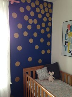 Baby girl nursery decor, blue, gold and coral.