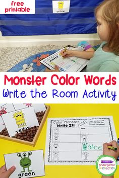 This fun and free Write the Room Monster Color Words activity makes learning color words exciting and hands-on in Pre-K & Kindergarten! Grab this free printable - students will have so much fun learning how to read color words! Miss Kindergarten, Free Kindergarten Worksheets, Free Teaching Resources, Kindergarten Classroom, Color Word Activities, Apple Activities, Literacy Skills, Literacy Activities, Early Learning
