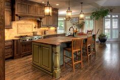 Magnificent Rustic Kitchen Island Design Ideas - Page 32 of 44 Country Kitchen Interiors, Country Kitchen Cabinets, Rustic Kitchen Island, Rustic Country Kitchens, Country Kitchen Designs, Rustic Kitchen Design, Kitchen Decor, Rustic Farmhouse, Kitchen Ideas