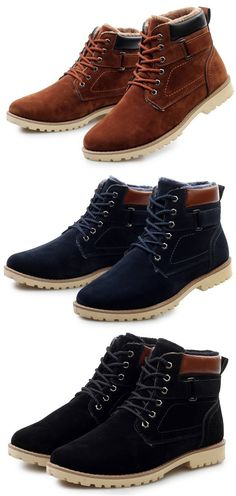 US 35.54 Men s British Style High Top Warm Plush Lining Casual Ankle Boots  Sapatos f13cae99500
