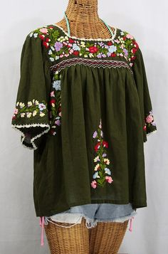 "The ""La Marina"" Embroidered Mexican Blouses in Olive.  Find them at SirenSirenSiren.com, $52.95."