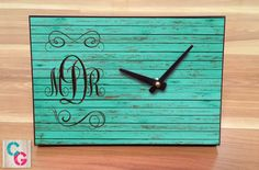 Monogrammed Desk Clock  Teal Wood Background  by CowGirlCentral
