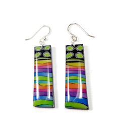 Watercolor Rainbow Long Earrings handmade jewelry by BeadazzleMe