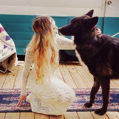 Wolf wedding. Boho bride. Bohemian wedding.