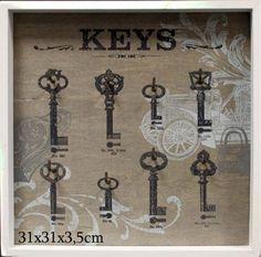 Vešiak  na kľúče 8 háčikov Ideal Home, Provence, Retro Vintage, Clock, Ceiling Lights, Frame, Home Decor, Art, Schmuck