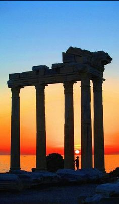 Among the ruins. Rhodes Island Greece, Greece Islands, Sunset Hours, Greece Pictures, Greece Travel, Beautiful Sunset, The Places Youll Go, Dream Vacations, Wonderful Places