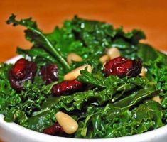 Kale with Cranberries is a kid favorite! This easy paleo salad recipe has just 4 ingredients --kale, cranberries, pine nuts, and olive oil. Paleo Salad Recipes, Kale Recipes, Healthy Recipes, Cranberry Salad, Cranberry Recipes, Pine Nut Recipes, Thanksgiving Dinner Menu, Convenience Food, Whole 30 Recipes