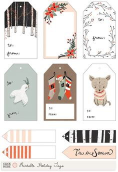 Free printable Illustrated Holiday Gift Tags by Kelli Murray (and many more tags)