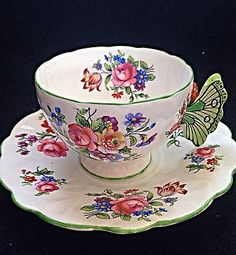 Aynsley Dresden Floral Spray Butterfly Handle Tulip Mould Tea Cup And Saucer