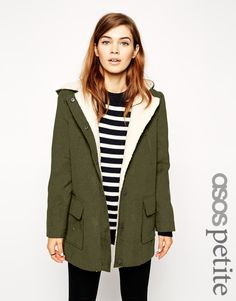 Buy ASOS PETITE Exclusive Patched Wool Parka at ASOS. Get the latest trends with ASOS now. Petite Outfits, Petite Dresses, Instyle Clothing, Red Parka, Asos Petite, Models, Wool Coat, My Style, How To Wear