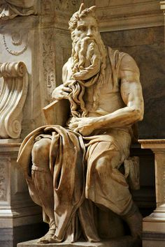 The Moses by Michelangelo in the church of San Pietro in Vincoli (Saint Peter in Chains) in Rome, Italy. Moses looks away from the altar where the venerated chains of Peter granted indulgences to countless pilgrims. Just as if he had seen a new golden calf.