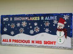 "Christmas/Winter theme BB; use pics of classroom kids for ""snowflakes"""