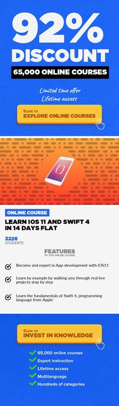 Learn iOS 11 and Swift 4 in 14 Days Flat Mobile Apps, Development #onlinecourses #freeonlinelearning #skillstolearnLearn All New iOS11 with Swift 4 with Easy to Understand Examples. The goal of this course is to introduce you to the techniques used to develop applications for iPhone, iPad, and iPod Touch using the iOS 11 operating system, the Swift programming language, version 4, and Xcode. App...