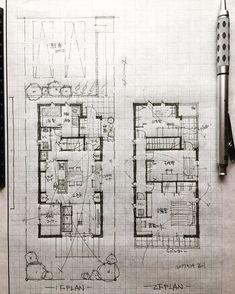 石川 元洋さんはInstagramを利用しています:「・ 32坪4人家族の家 ・ キッチンに立つ奥様が全てを見渡せるように ・ #手描き#マイホーム計画#間取り#間取り図#間取りいろいろ#注文住宅#建築#住宅#家#マイホーム#暮らしを楽しむ#インテリアデザイン#インテリア#マイホーム記録…」 Concept Models Architecture, Architecture Drawing Plan, Architecture Sketchbook, Architecture Details, Home Design Plans, Plan Design, Planer Layout, Architectural Floor Plans, Plan Sketch